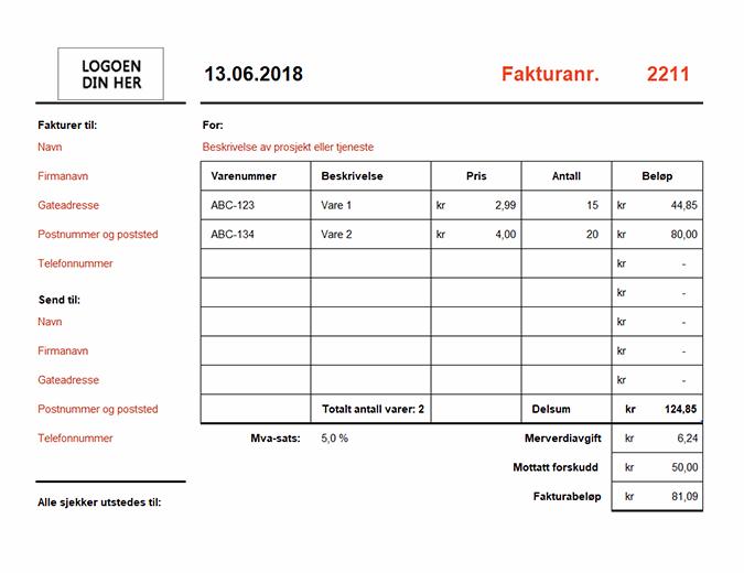 Faktura som beregner totalen (liggende)