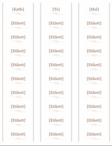 Syltetøyglassetiketter (redskapsdesign, 30 per side, fungerer med Avery 5160)