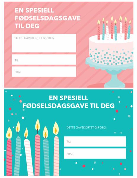 Fødselsdagsgavekort (lys design)