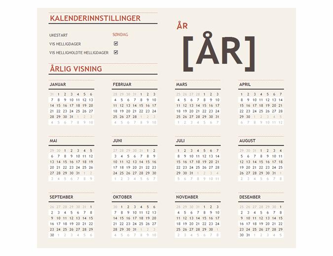 En kalender med helligdager