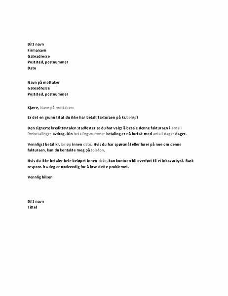 Brev med anmodning om betaling av forfalt konto
