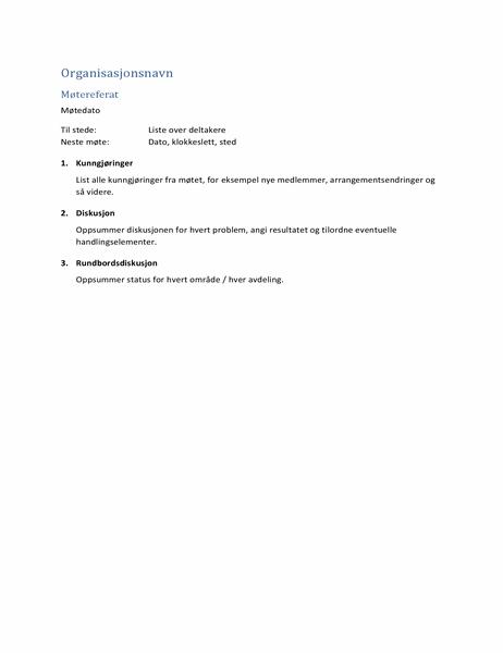 Møtereferat (kortform)