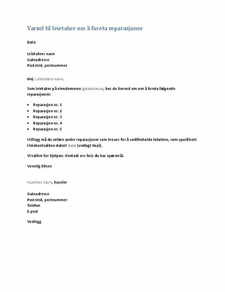 Varsel til leietaker om å foreta reparasjoner (standardbrev)