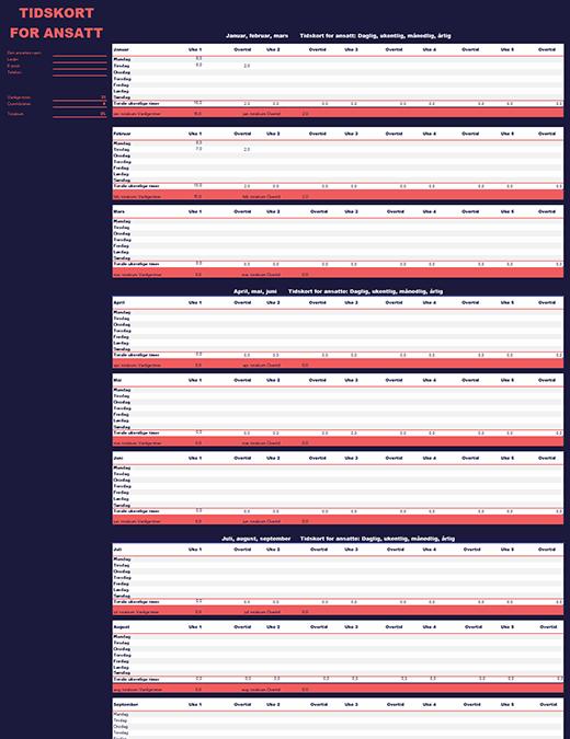 Timeliste for ansatte (ukentlig, månedlig, årlig)