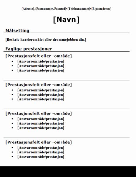 Funksjonell CV (tradisjonell utforming)