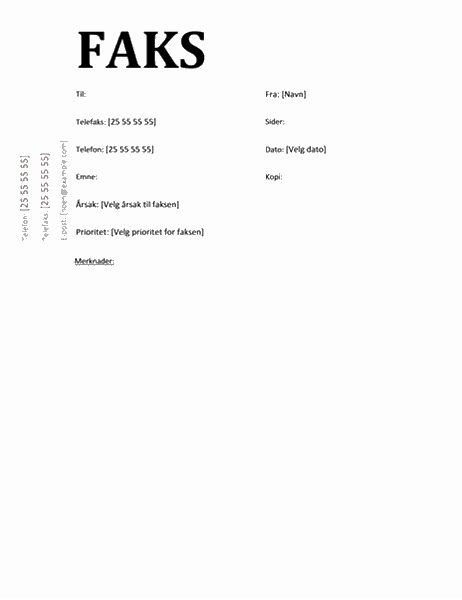 Faksforside (Akademisk-utforming)