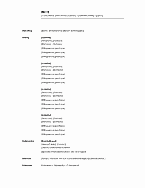 Kronologisk CV (minimalistisk tema)