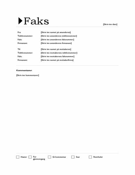 Faksforside (opprinnelse-utforming)