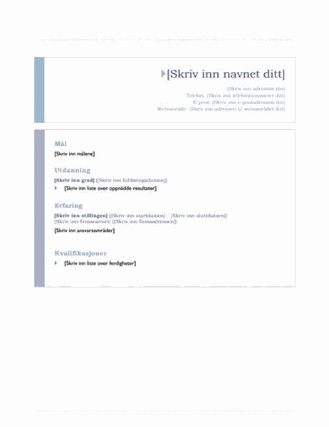 CV (opprinnelse-utforming)