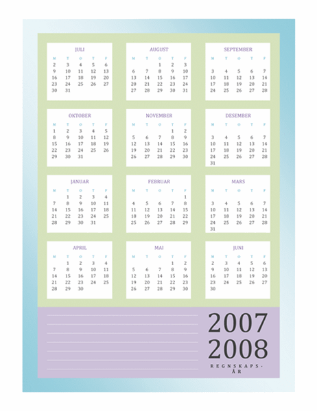 Regnskapskalender 2007-2008 (man-fre)