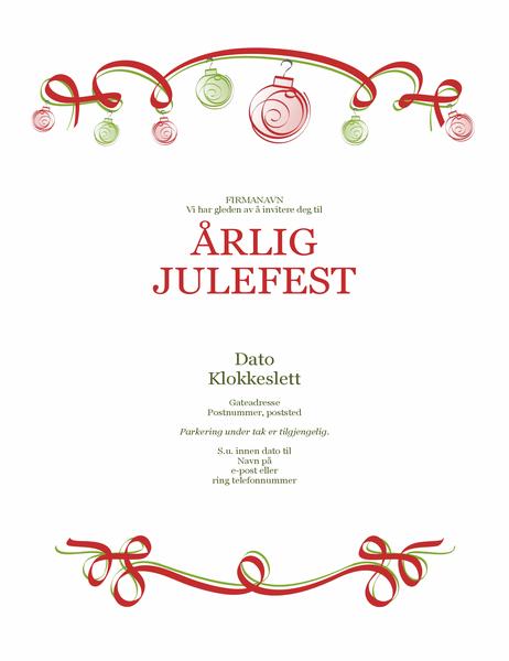 Invitasjon til høytidsfest med ornamenter og rødt bånd (formell utforming)