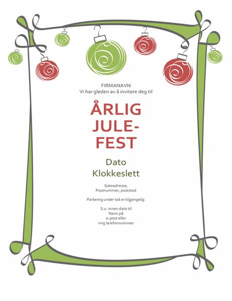 Invitasjon til julefest med dekorasjoner og snirklete kantlinje (uformell utforming)