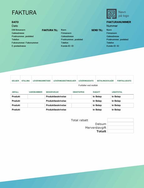 Salgsfaktura (utforming med grønn gradering)