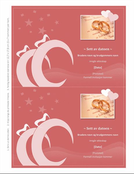 """""""Sett av datoen til bryllup""""-kort"""