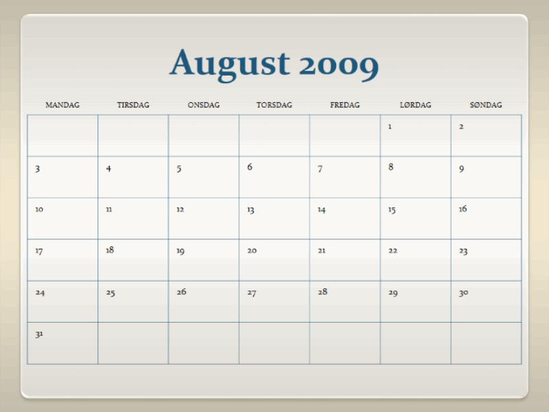 Akademisk kalender for 2009–2010 (13 sider, mandag til søndag)