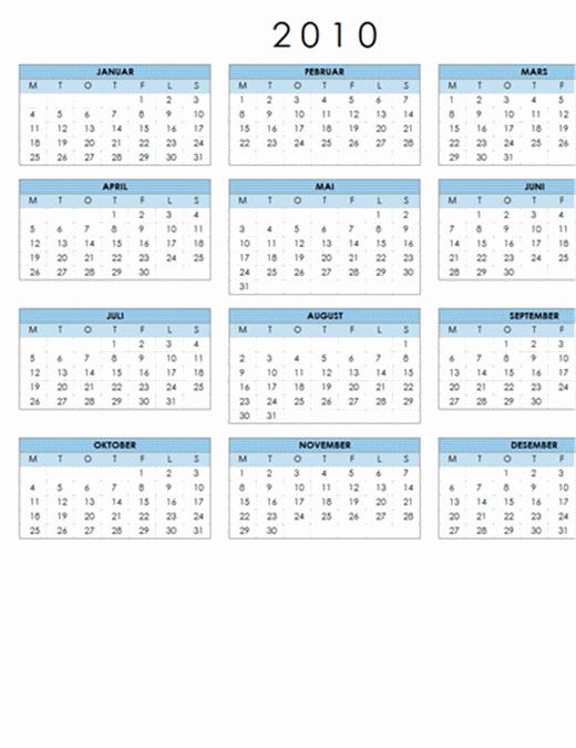 2010-kalender (1 side, liggende, mandag til søndag)