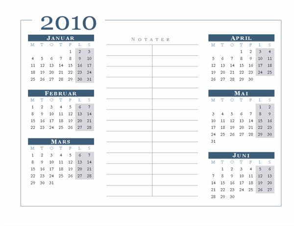 2010-kalender (6 måneder/side, mandag til søndag)