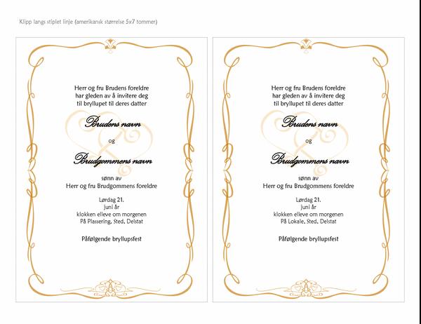Bryllupsinvitasjoner (utforming med snirklete hjerter, A7-størrelse, 2 per side)