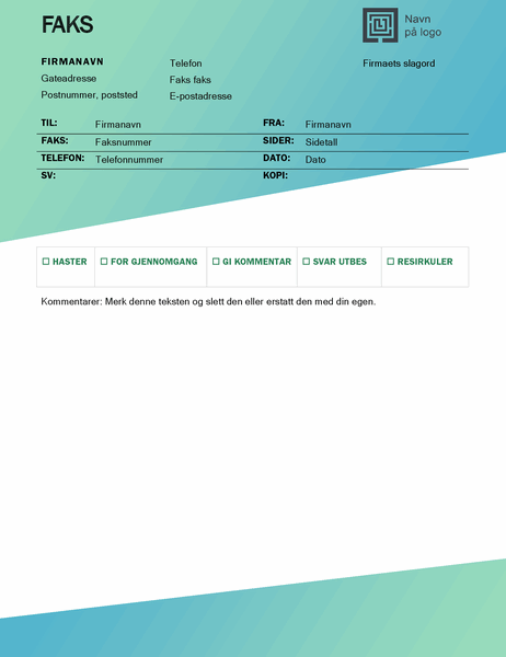 Faksforside (utforming med grønn gradering)