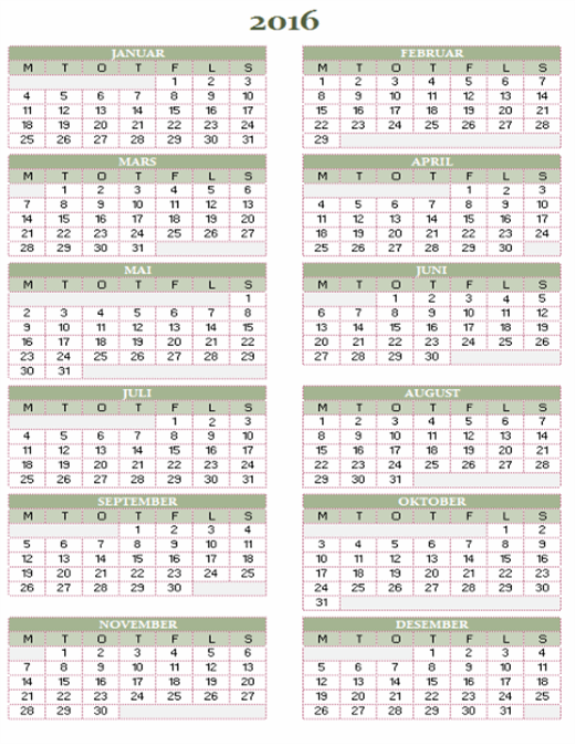 Årskalender 2016–2025 (man–søn)