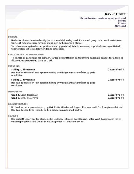 CV for nyutdannede