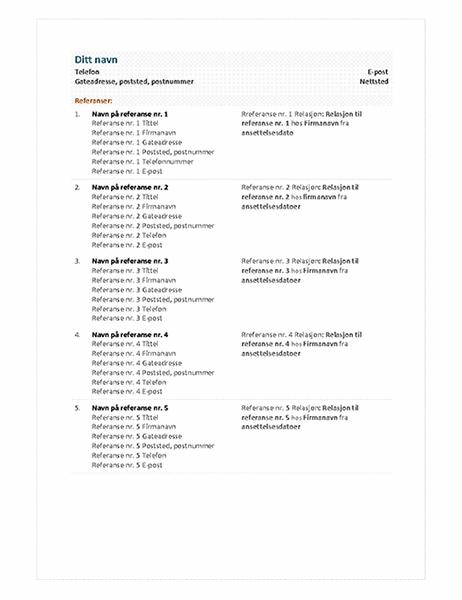 Referanseark for funksjonell CV
