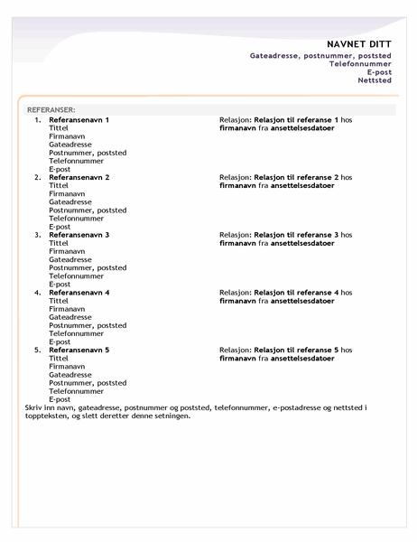 Referanseark for CV for nyutdannede