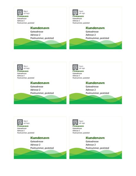 Forsendelsesetiketter (grønn bølge-utforming, 6 per side)
