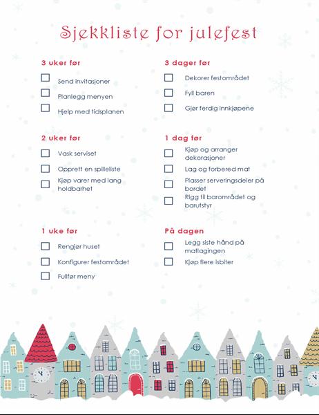 Sjekkliste for julefest