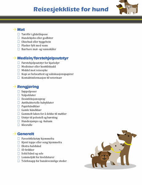 Reisesjekkliste for hund