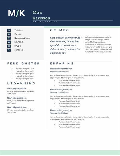 Moderne CV med initialer