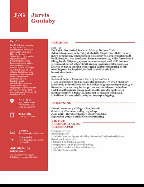 CV for butikkleder