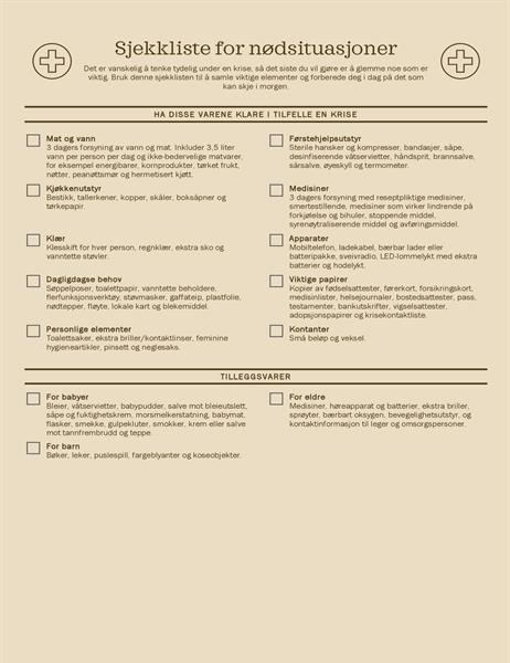 Sjekkliste for nødsituasjoner