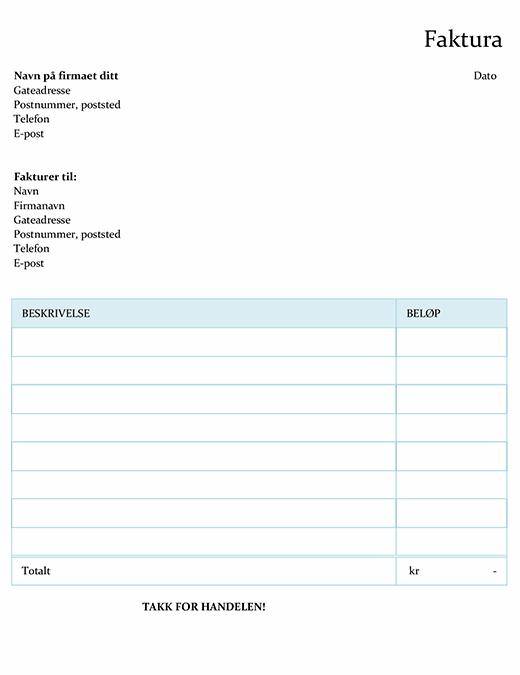 Faktura som beregner totalen (enkel)
