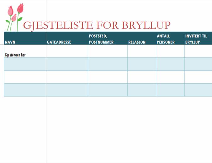 Liste for bryllupsgjester (med tulipaner)