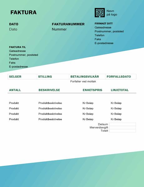 Tjenestefaktura (utforming med grønn gradering)