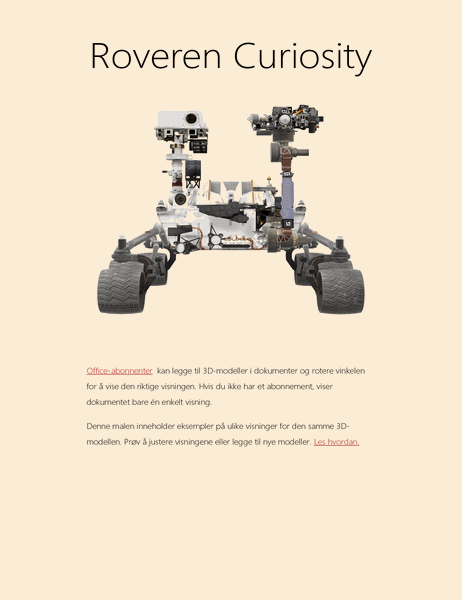 3D Word-forskningsrapport (Mars Rover-modell)