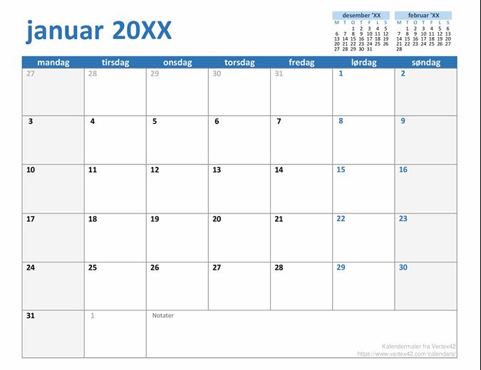 Egendefinert kalender for hvilket som helst år