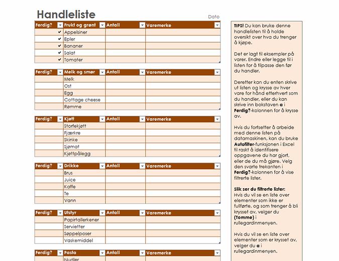 Handleliste med plass til varemerke