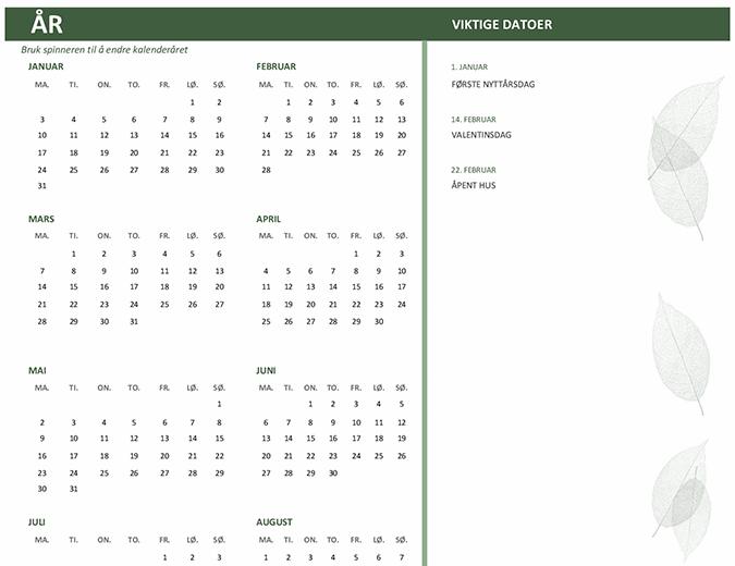 Bedriftskalender (alle år, ma.–sø.)