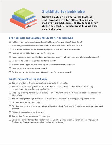 Sjekkliste for bokklubb