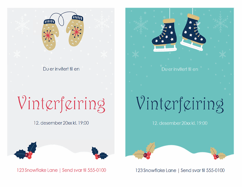 Invitasjoner til julefest