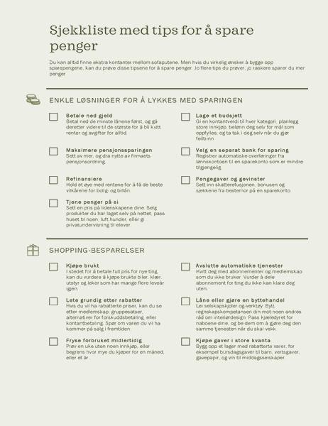 Sjekkliste med tips for å spare penger