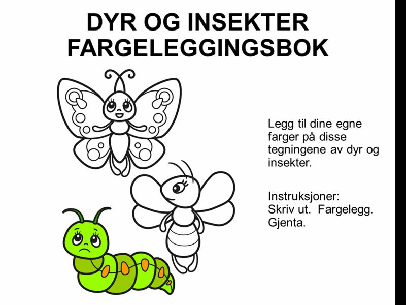 Dyr og innsekter fargeleggingsbok