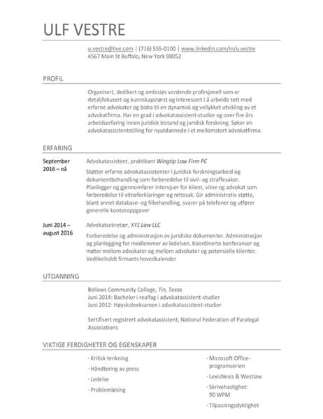 Paralegal CV