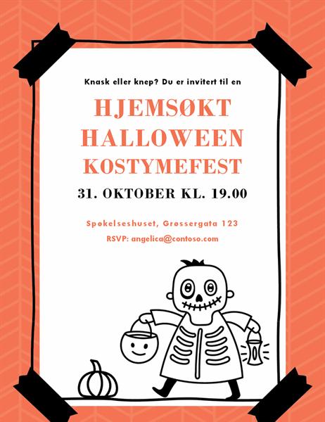 Halloween-invitasjon med skjelett