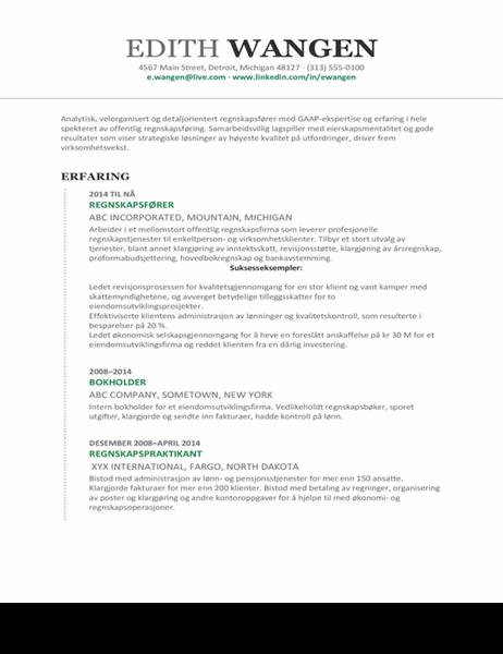 CV for regnskap