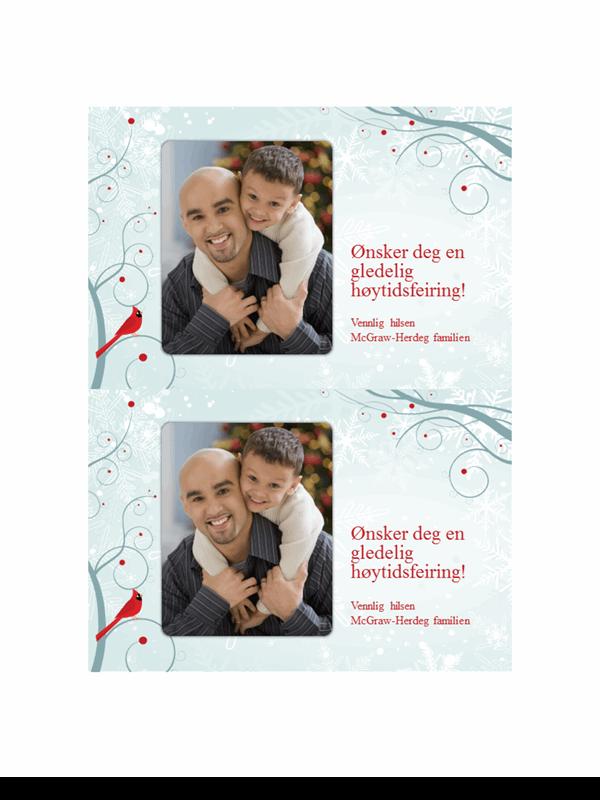 Julekort med bilde av snøflak (to per side)