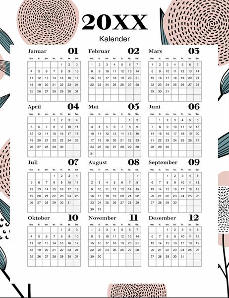 Moderne blomsterkalender
