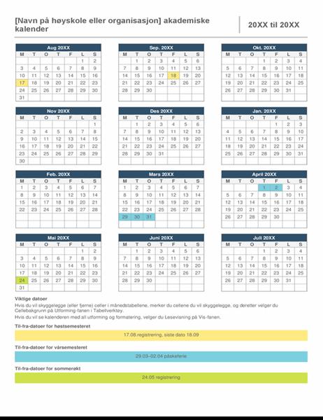 Kalender for skoleåret.